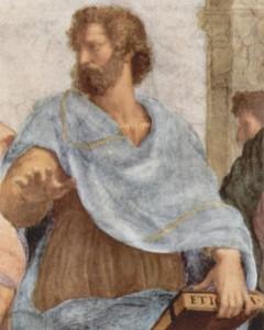Aristote, montrant la terre et le monde sensible.
