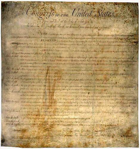 L'un des textes les plus représentatifs du libéralisme politique : le Bill of Rights des Etats-Unis.