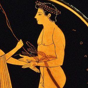 Athlète vainqueur recevant une couronne d'olivier